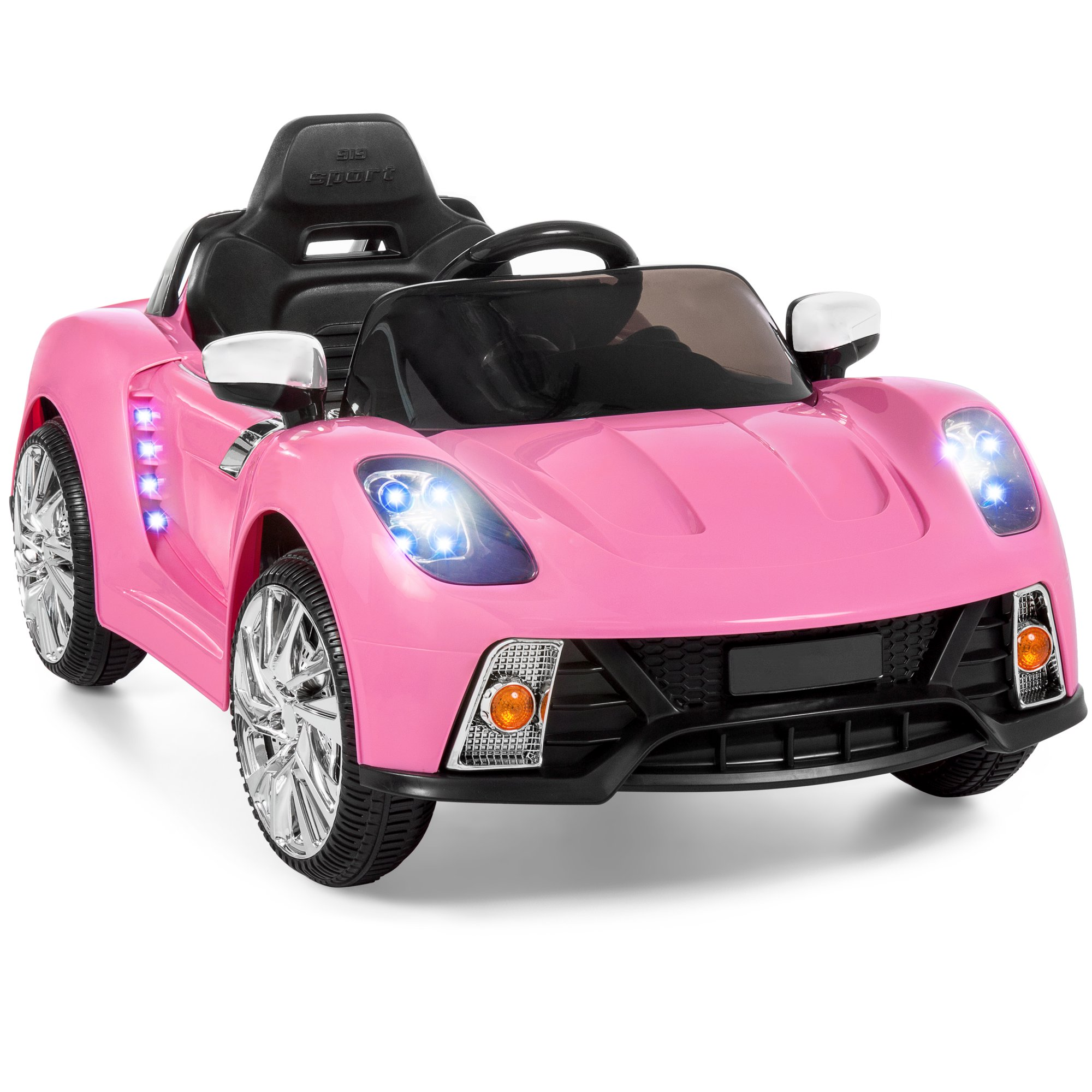 12V Kids Battery Powered Remote-control Electric RC Ride-on Car w/ LED Lights, MP3, AUX – Pink